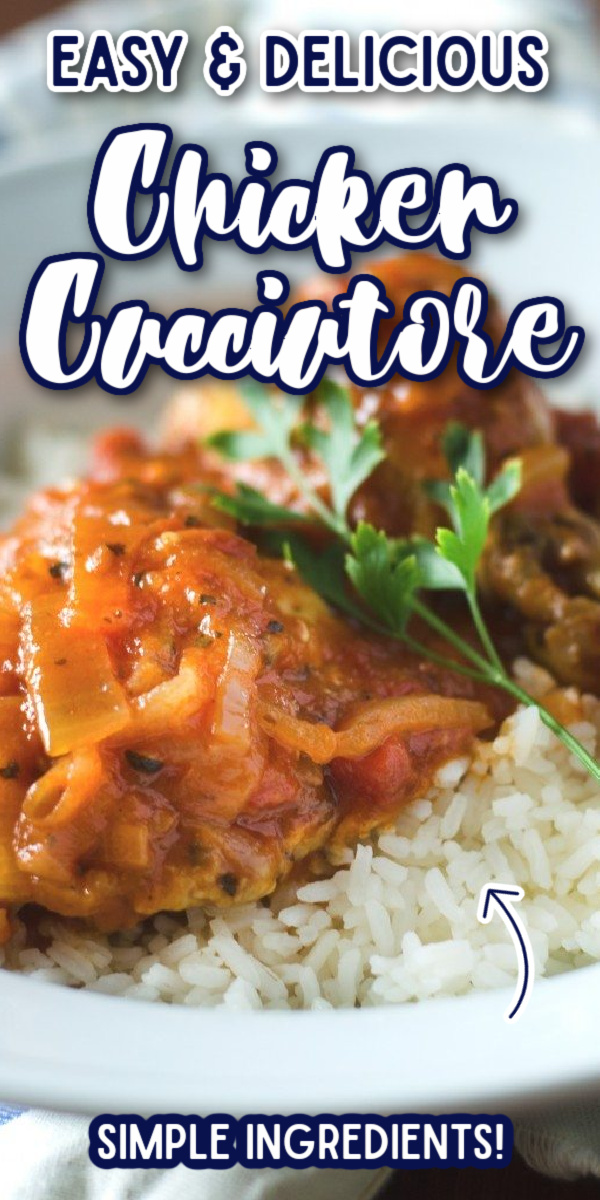 This Chicken Cacciatore is an incredibly easy dinner to put together! It will be your go-to recipe when you have no dinner plan, because you'll almost always have all the ingredients in your kitchen! #gogogogourmet #chickencacciatore #italianrecipes #easyweeknightdinners via @gogogogourmet