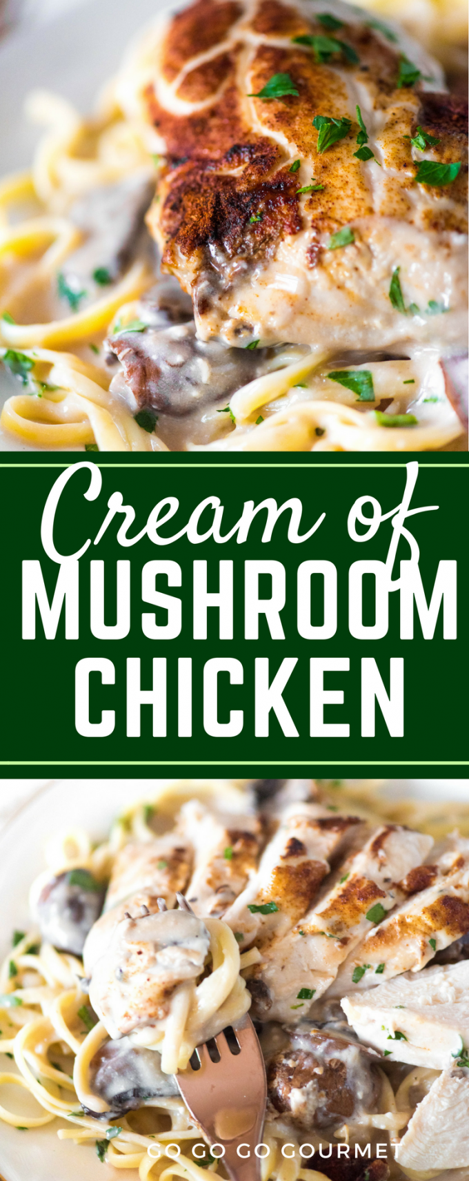 This easy Cream of Mushroom Chicken is one of my favorite recipes! Whether baked or made in the slow cooker or crockpot, this is a dinner that the whole family will love! It is great served with both pasta and rice. #creamofmushroomchicken #easychickendinners #easychickenrecipes #gogogogourmet