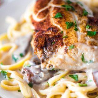 Cream of Mushroom Chicken with Sherry over Pasta