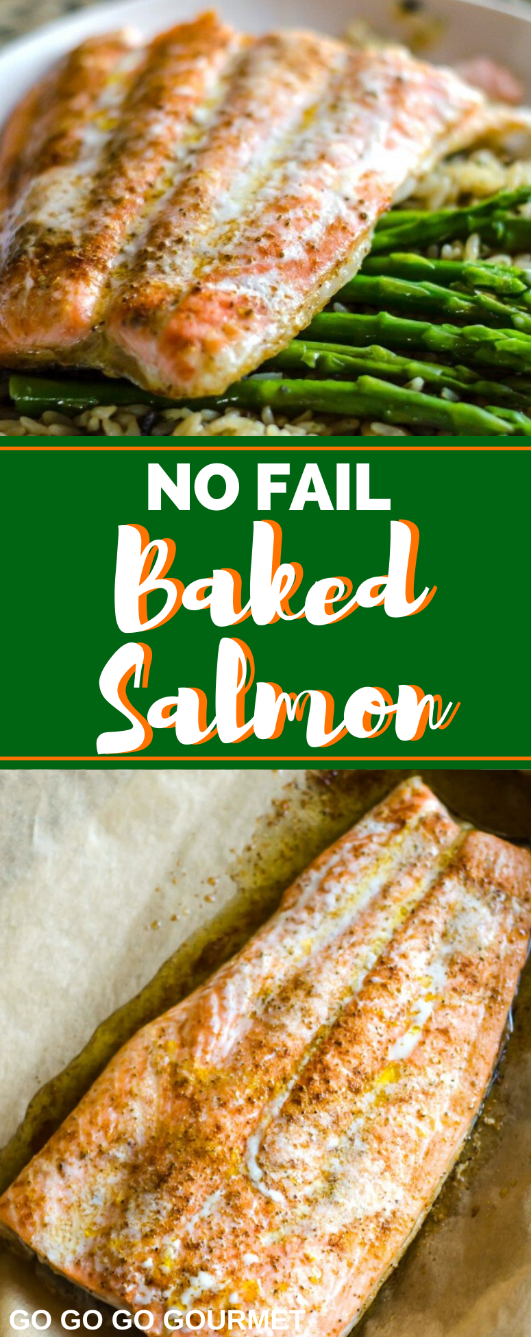 This easy No-Fail Baked Salmon recipe is exactly that- you can't go wrong! Seasoned fish gets baked in the oven for tender, juicy flaky salmon every time! #gogogogourmet #bakedsalmon #salmonrecipe #easyweeknightdinner via @gogogogourmet