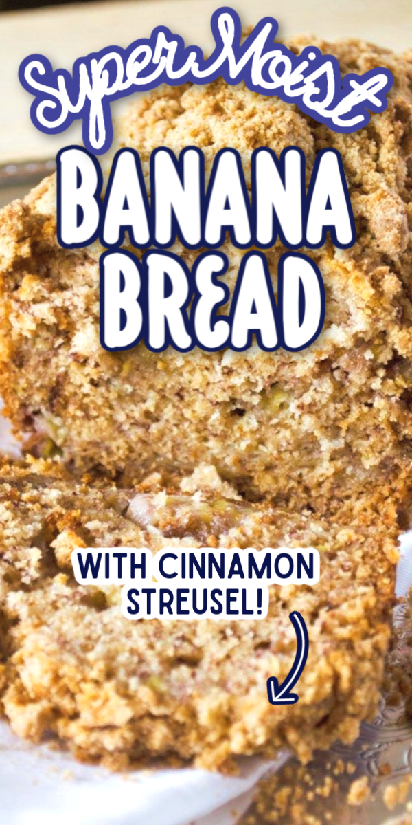 This easy Banana Bread recipe is perfect to make for a weekend breakfast or brunch! With a cinnamon streusel topping, this is the best banana bread you will ever make! #gogogogourmet #bananabread #cinnamonbananabread #bestbananabread via @gogogogourmet