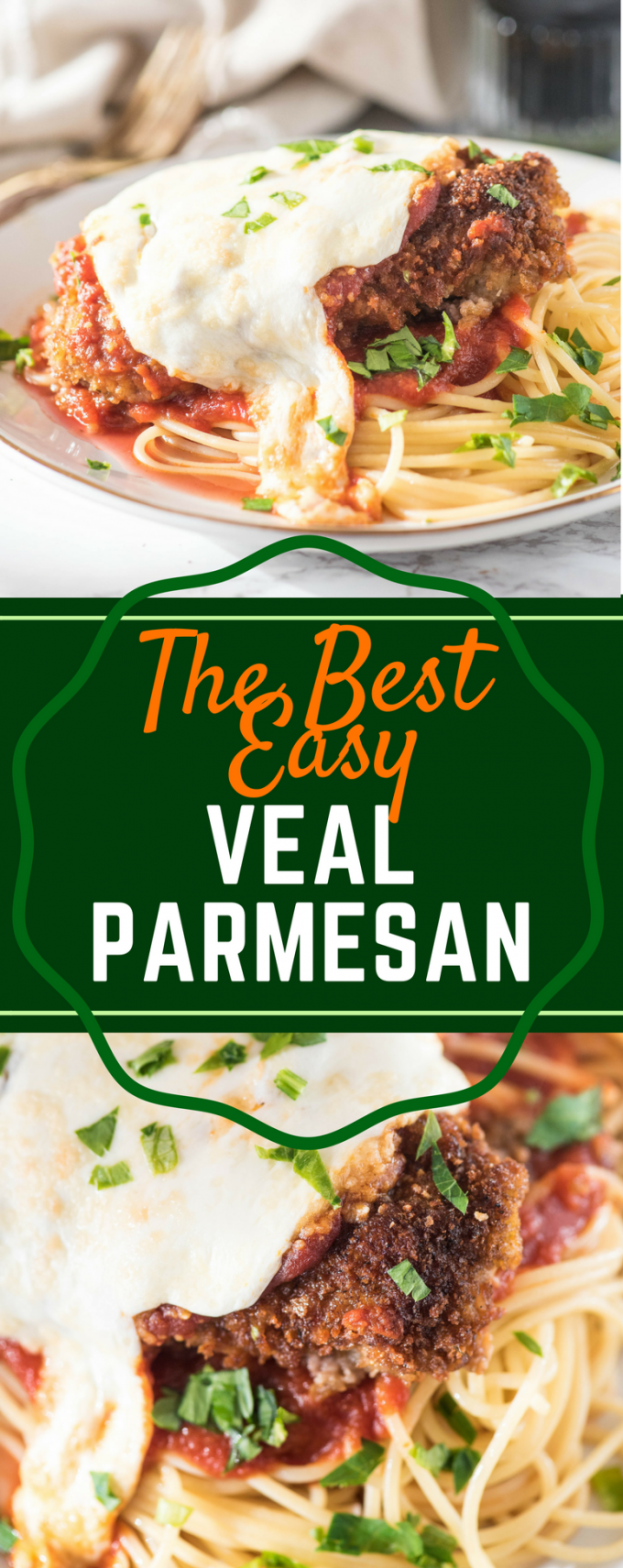 This is the BEST easy Veal Parmesan recipe! Pan fried and then baked to perfection, this recipe could not be more simple. Parmigiana is a fast weeknight meal that is authentic Italian! #vealparmesan #vealparmigiana #authenticitalianrecipes #easyweeknightdinners #gogogogourmet via @gogogogourmet