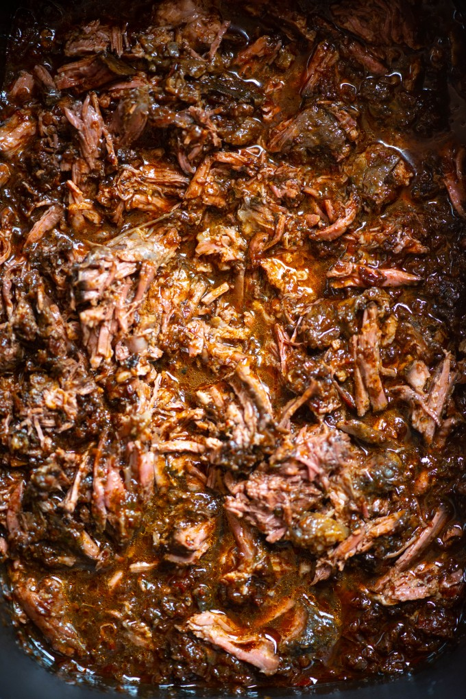 Shredded barbacoa beef in the slow cooker