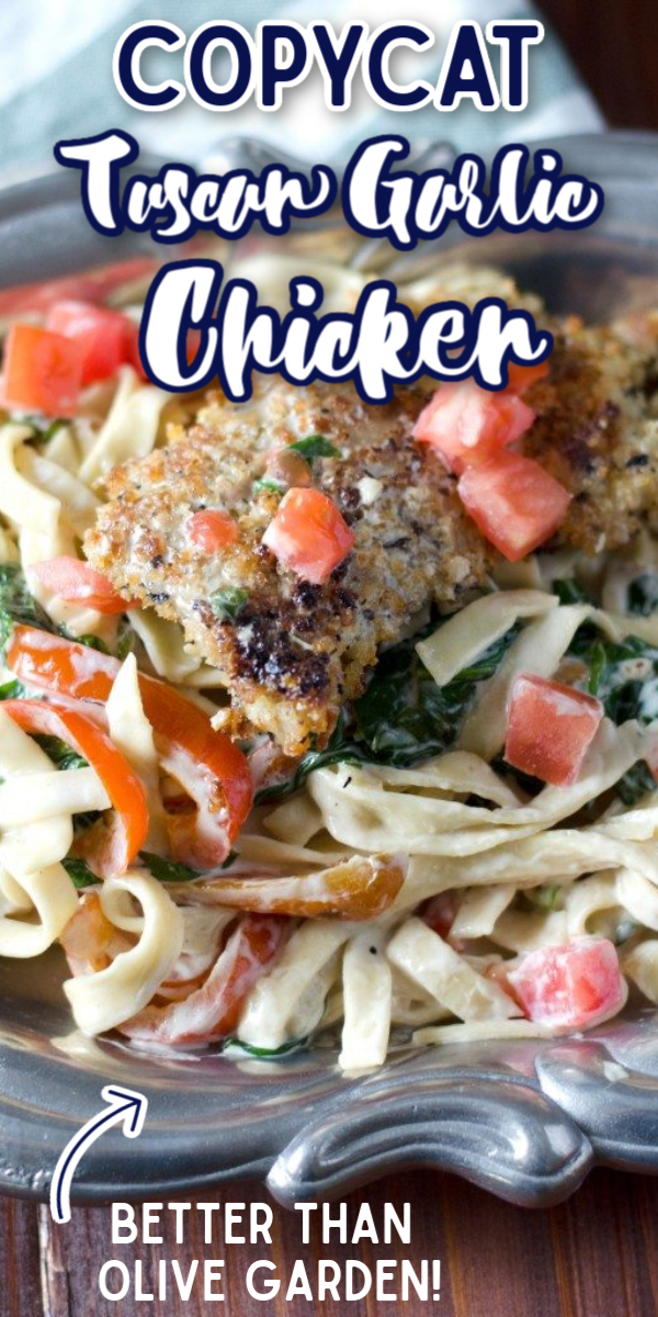 The Tuscan Garlic Chicken at Olive Garden was one of my favorites, and my copycat version is an amazing weeknight meal! Fast, easy, and always a delicious hit! #gogogogourmet #tuscangarlicchicken #olivegardencopycat #easyweeknightdinner via @gogogogourmet