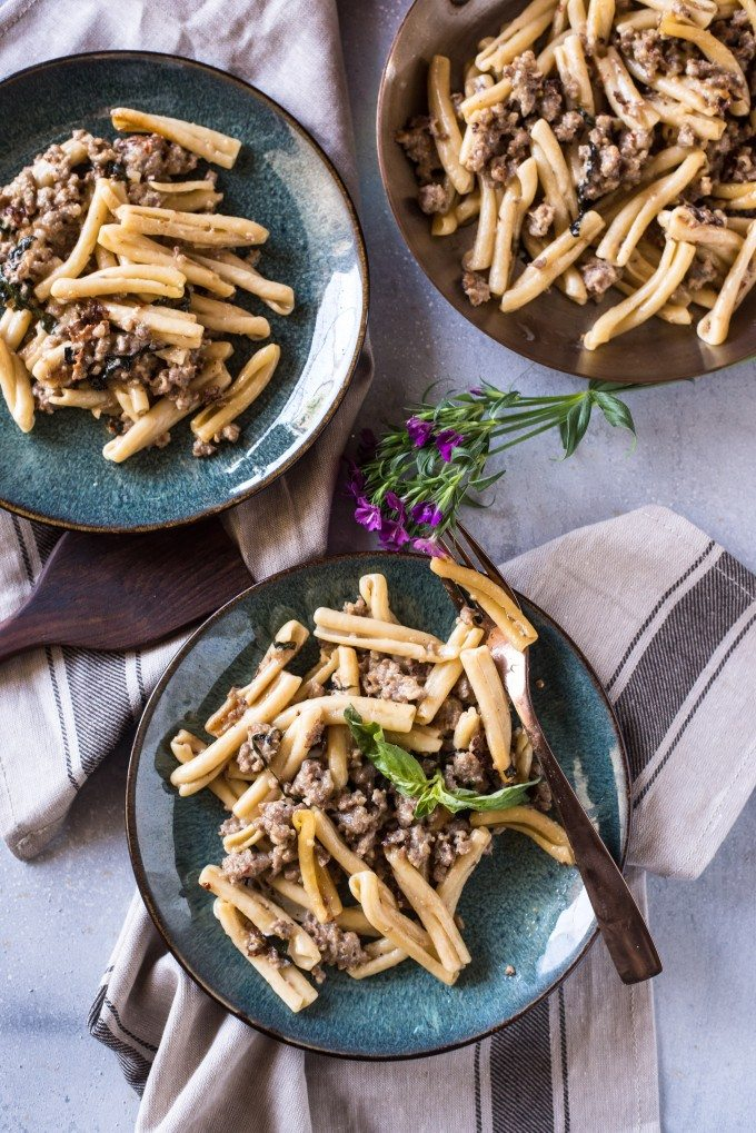 Pasta with Sausage, Basil & Mustard- this Sasuage Mustard Pasta is killer. Totally an odd combination, but you'll be hooked after one taste! | @gogogogourmet