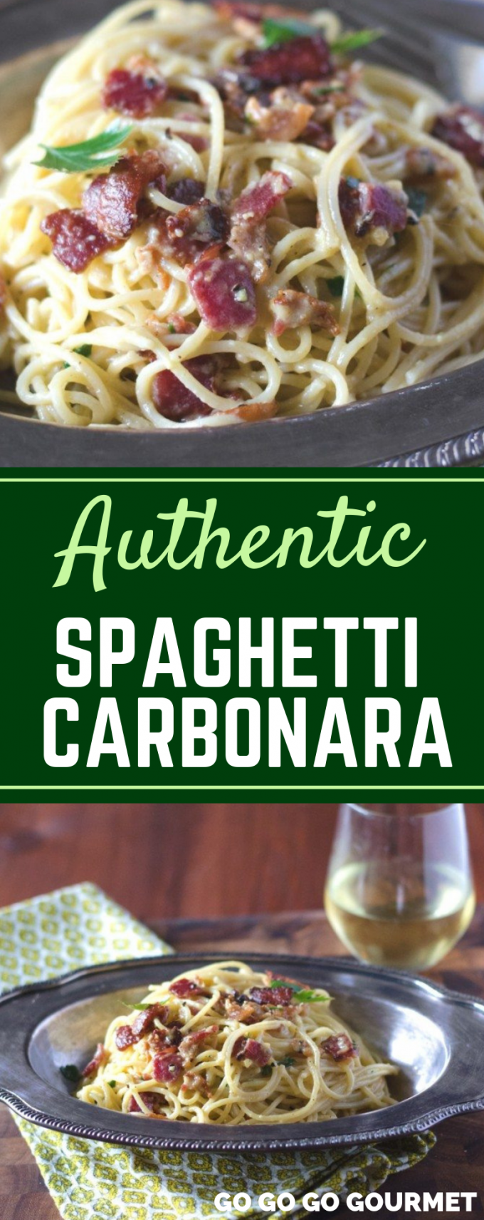 This easy authentic Spaghetti Carbonara is even better than the Pioneer Woman recipe! With cream and pancetta, this classic Italian dish is the best! #gogogogourmet #authenticspaghetticarbonara #spaghetticarbonara #easypastarecipes via @gogogogourmet