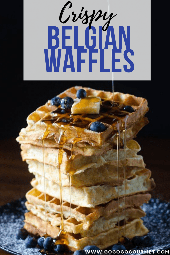 This is one of the best crispy Belgian Waffles recipes! Perfect for breakfast, brunch or even desserts! Whether you top with peanut butter, maple syrup, powdered sugar, whipped cream or all four, these waffles will get your mornings started on the right foot. #gogogogourmet #crispybelgianwaffles #belgianwaffles #homemadewaffles #easybreakfastrecipes via @gogogogourmet