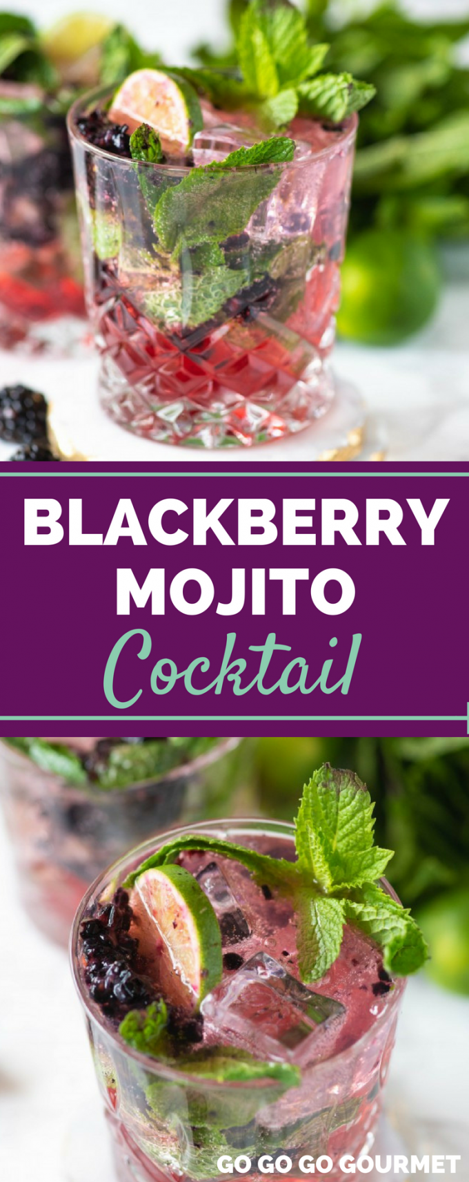 If you like the Starbucks mocktail, you are going to LOVE this Blackberry Mojito cocktail recipe! Whether you're making a pitcher or just one for yourself, this will be one of your favorite refreshing summer drinks! #easysummercocktails #refreshingcocktails #blackberrymojitococktail #gogogogourmet