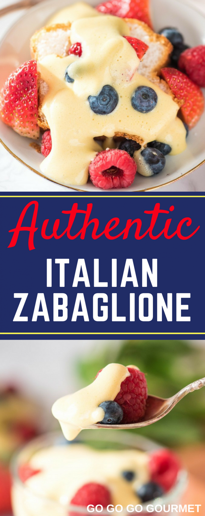 You are going to love this easy Authentic Italian Zabaglione recipe! Cool and creamy custard with berries and cake in a mini trifle. You can make this without wine, but I prefer to use marsala! #italianzabaglione #authenticitaliandesserts #easyzabaglionerecipe #gogogogourmet
