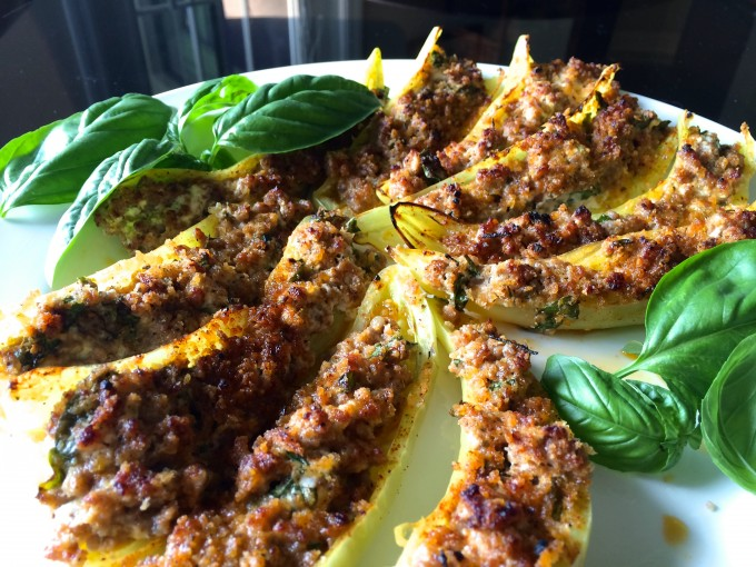 Banana Peppers Stuffed with Chorizo, Goat Cheese, Basi and Chives