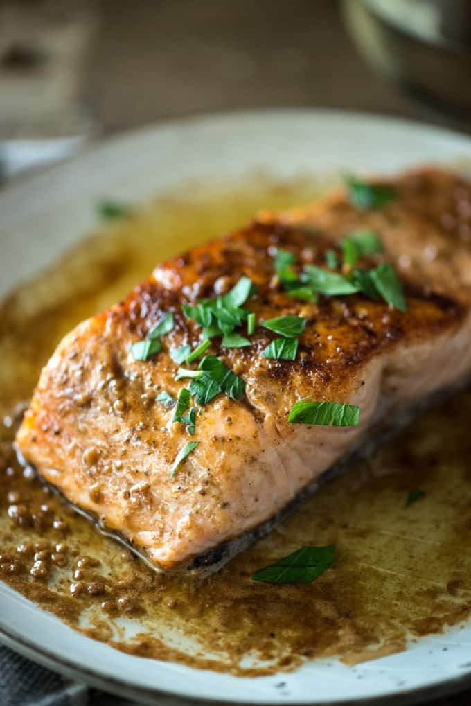 Pan Seared Salmon with Lemon White Wine Butter Sauce recipe | @gogogogourmet