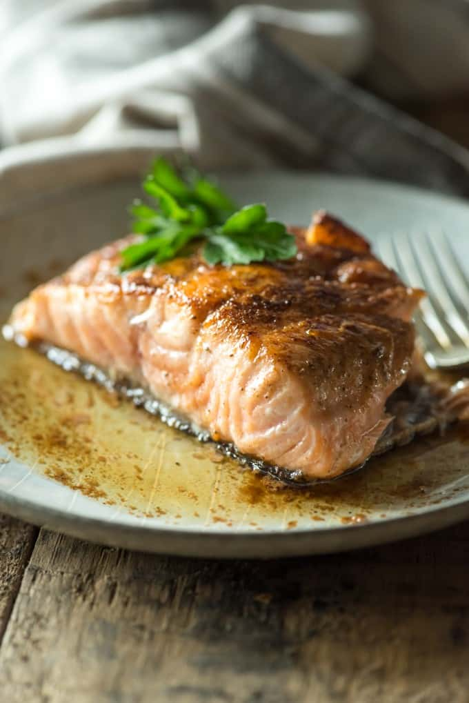 Pan Seared Salmon with White Wine Butter Sauce | @gogogogourmet