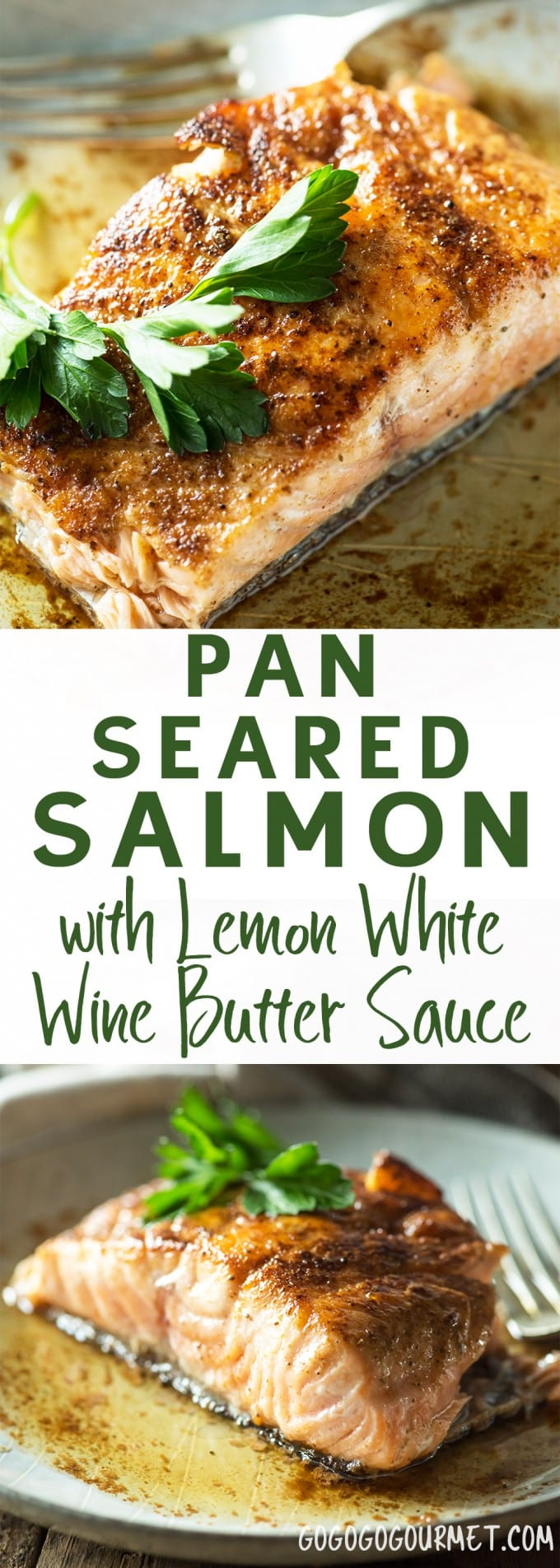 This Pan Seared Salmon with Lemon White Wine Butter Sauce is a fast and easy salmon recipe for busy weeknights.