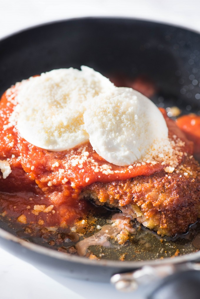 Easy Veal Parmesan in nonstick skillet