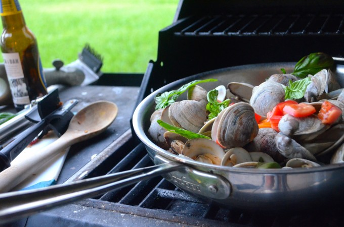 Grilled Clams with Chorizo, Peppers & Basil
