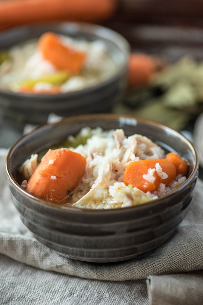 Two bowls of chicken and rice soup