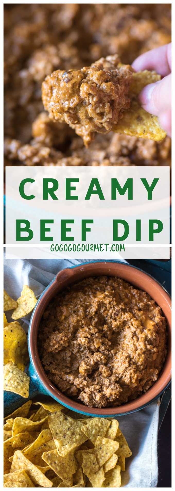 This Creamy Beef Dip is fast, easy and ALWAYS a hit. Not to be missed!! | @gogogogourmet via @gogogogourmet