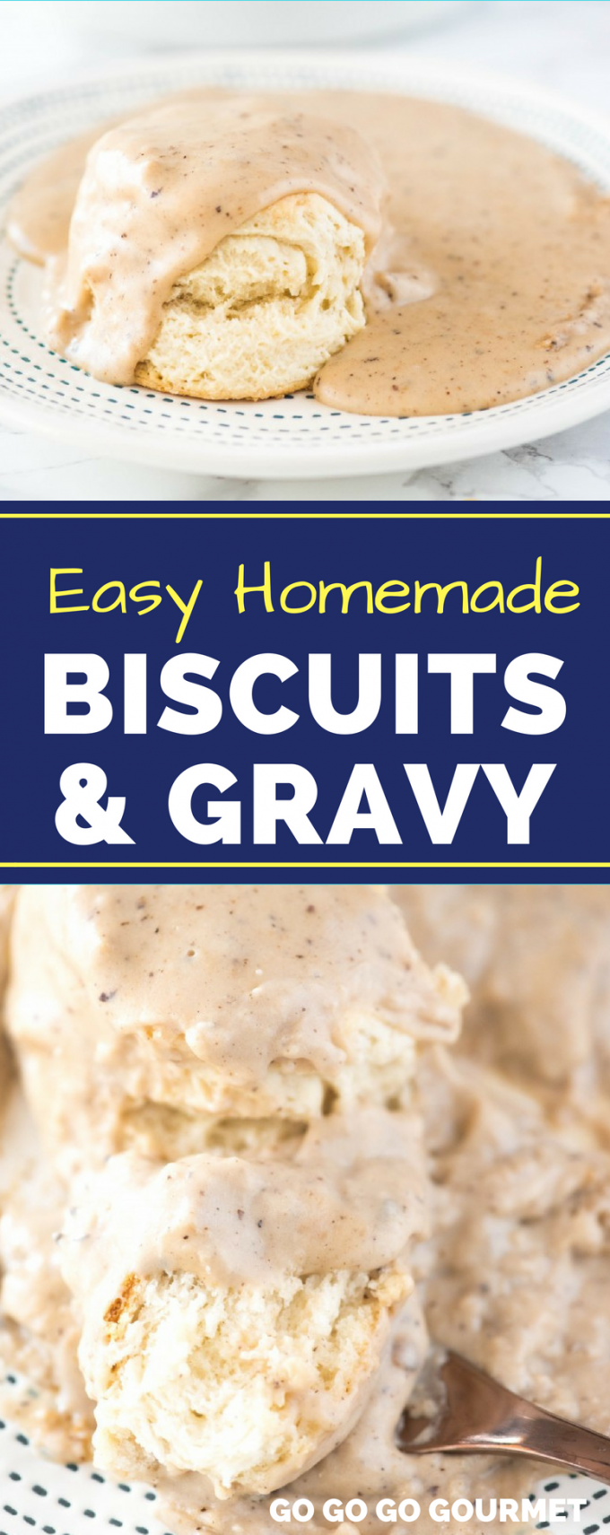 Skip the breakfast casserole and make this easy Biscuits and Gravy recipe for your next brunch! Rivaling the Pioneer Woman recipe with buttery biscuits and flavorful gravy, this homemade meal is sure to please! #homemadebiscuitsandgravy #easybrunchrecipes #buscuitsandgravyrecipe #gogogogourmet