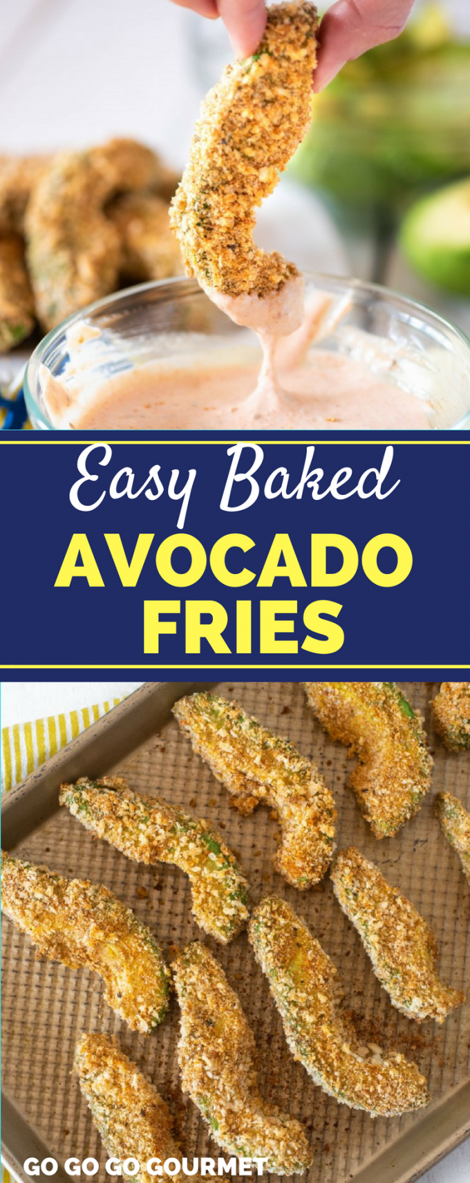 This Easy Baked Avocado recipe makes the perfect low carb, healthy side dish! Baked right in the oven and paired with an incredible dipping sauce, they just can't be beat! #healthysidedishrecipes #healthysnacks #easyhealthyrecipes #bakedavocadofries #gogogogourmet via @gogogogourmet