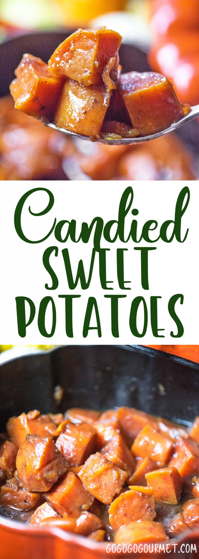 This Baked Candied Sweet Potatoes recipe is the easiest and best Thanksgiving side dish! | @gogogogourmet