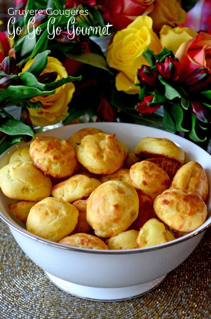 Gougères are a perfect #appetizer for your next get together, this version is laced with cheese and studded with herbs | Go Go Go Gourmet