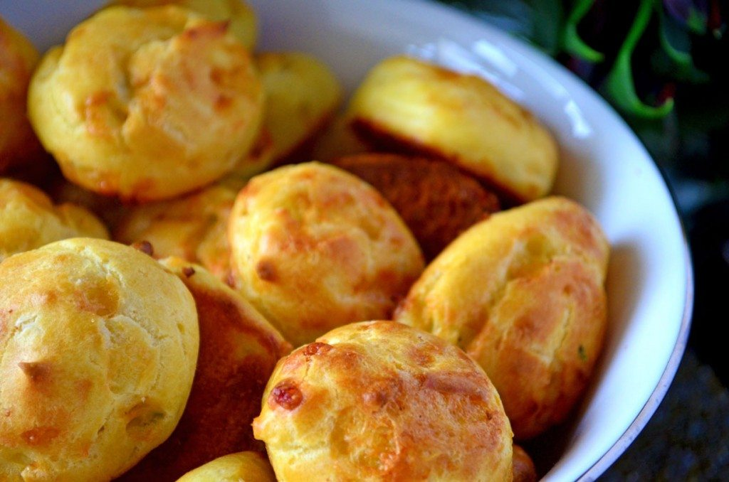 Gougères are a perfect #appetizer for your next get together, this version is laced with cheese and studded with herbs   Go Go Go Gourmet