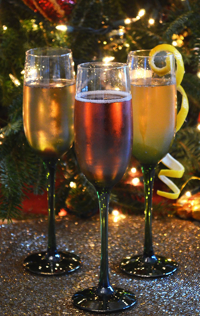 Champagne cocktails with a lemon twist - new years eve party food