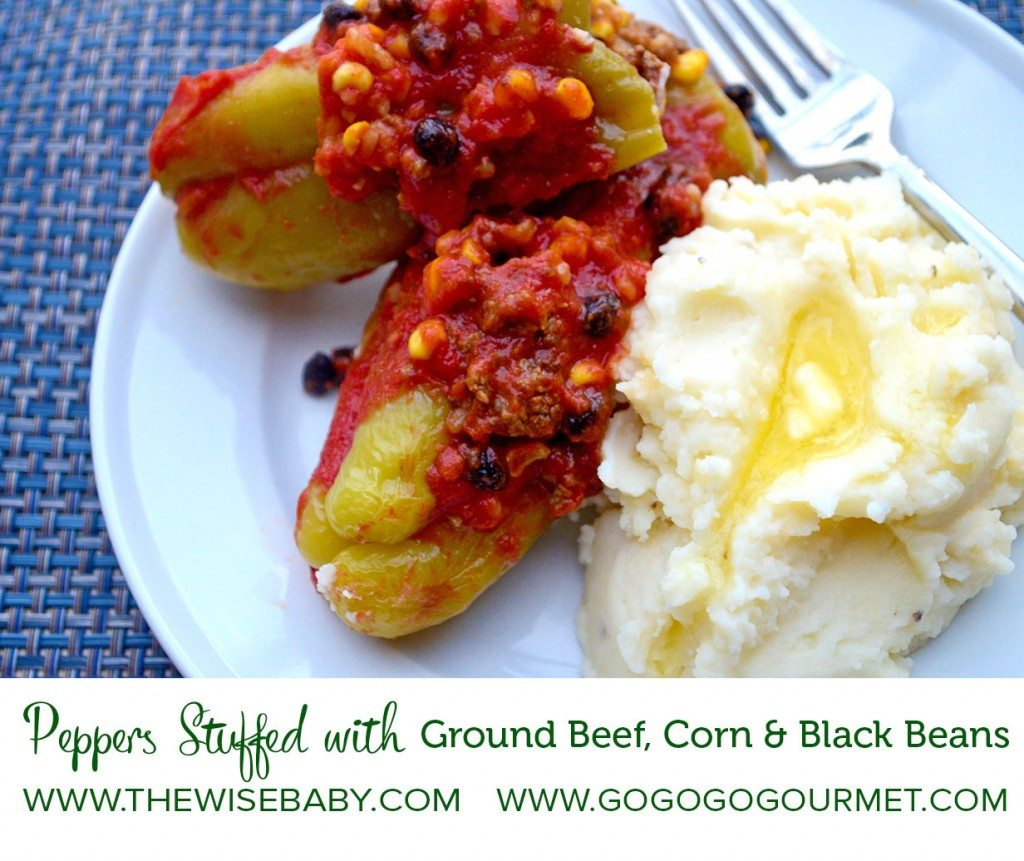 Peppers Stuffed with Ground Beef, Corn & Black Beans |Go Go Go Gourmet for The Wise Baby