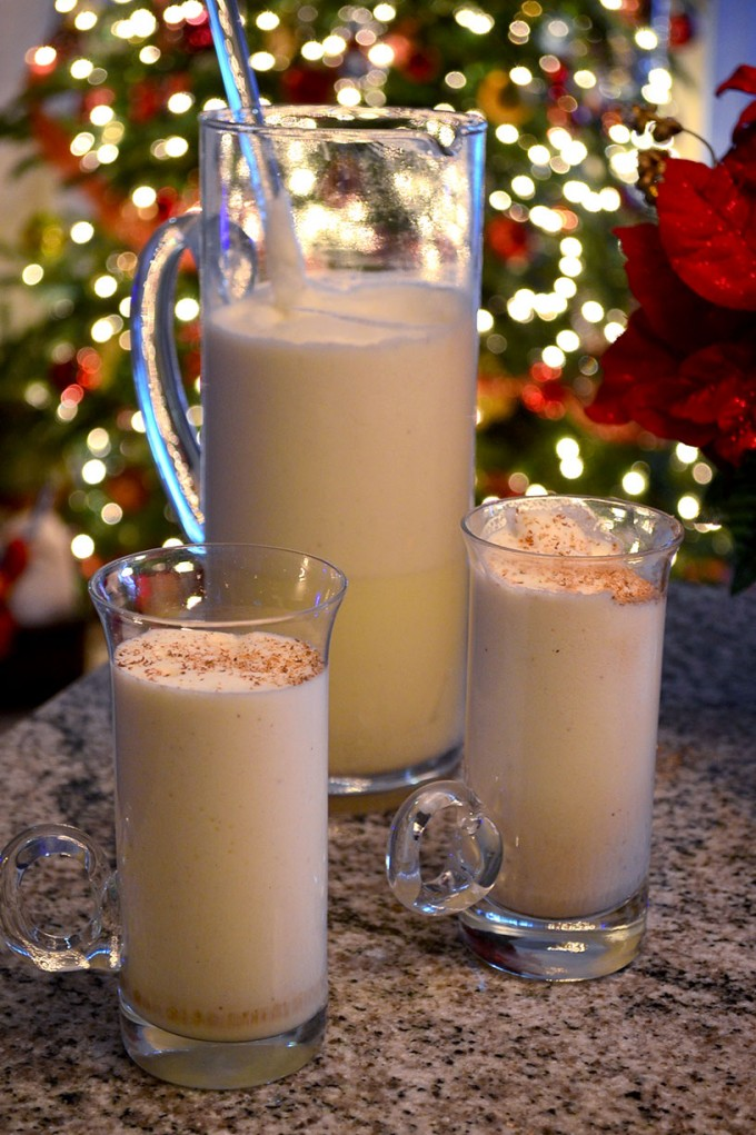 Thanksgiving recipes, eggnog pitcher and two glasses