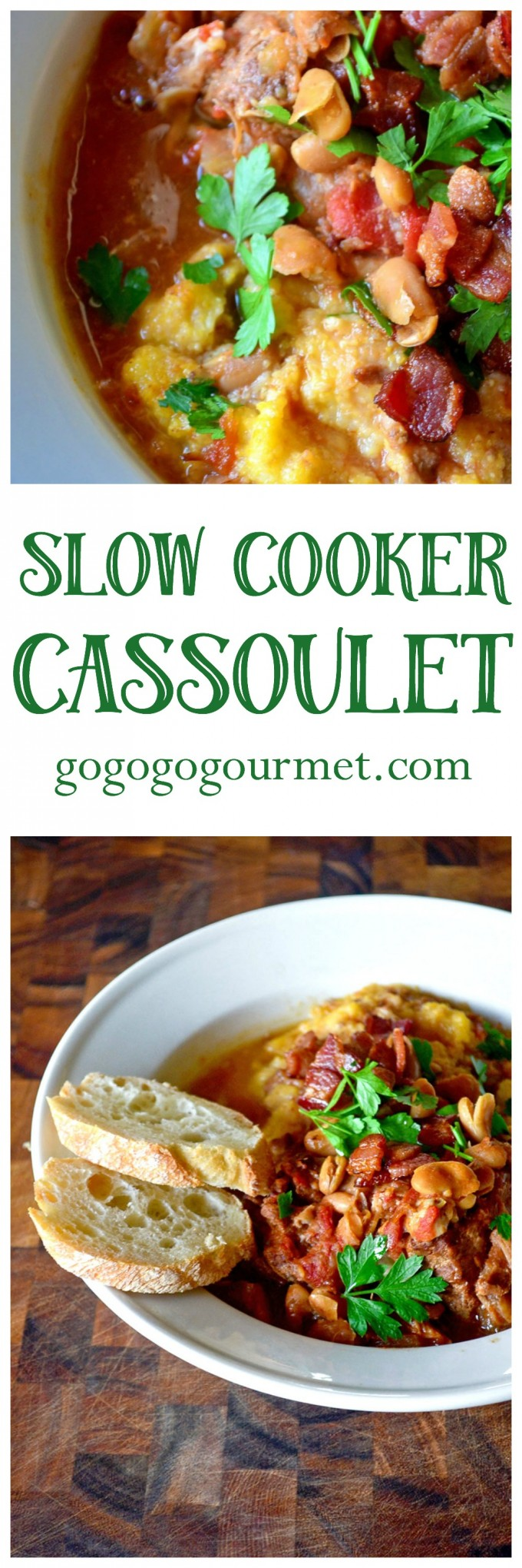 The warm flavors of cassoulet- tomatoes, wine, beans, sausage and pork shoulder- come together for this weeknight dinner thanks to your crockpot! Slow Cooker Cassoulet @gogogogourmet