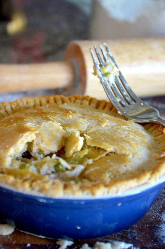 Thanksgiving recipes, turkey pot pie with a fork next to it