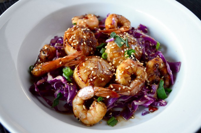 Asian marinated shrimp and scallops go go go gourmet for Am asian cuisine
