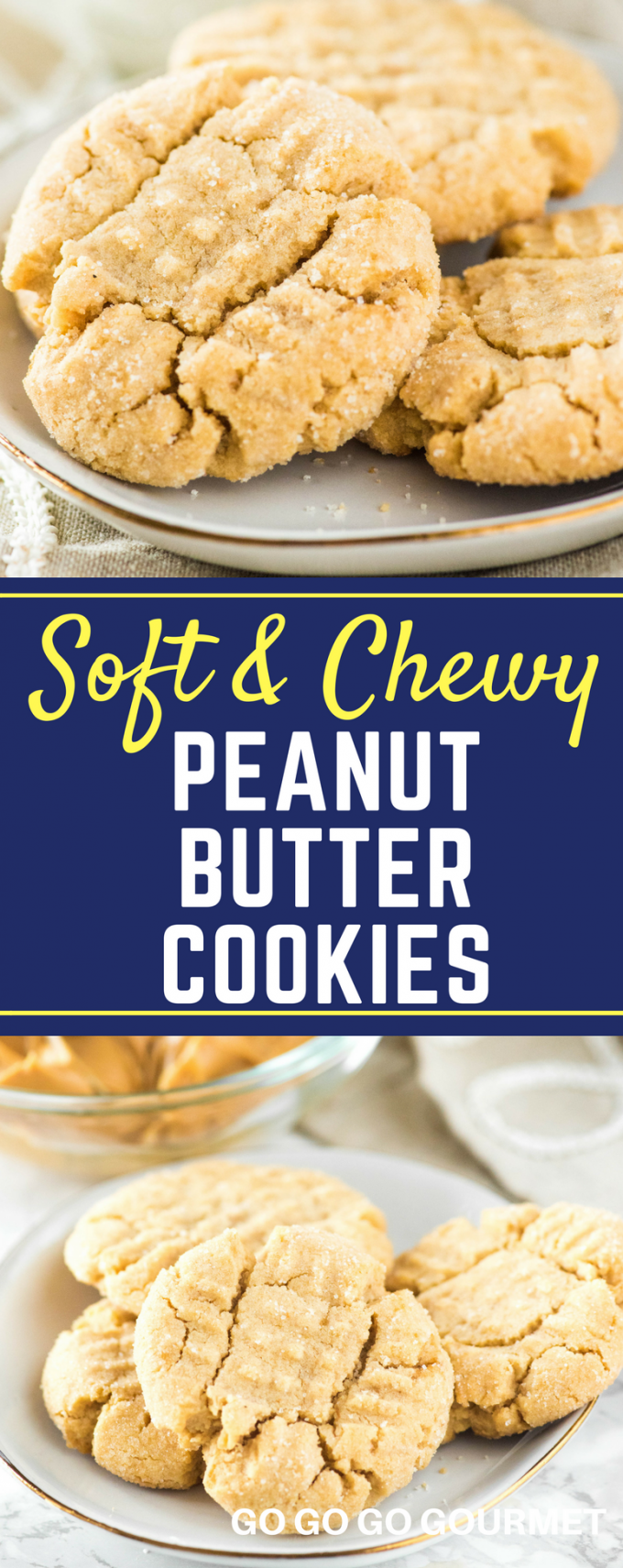 These soft peanut butter cookies are incredibly easy to make. Simple ingredients lead to a perfectly chewy homemade cookie! #cookie #peanutbutter via @gogogogourmet