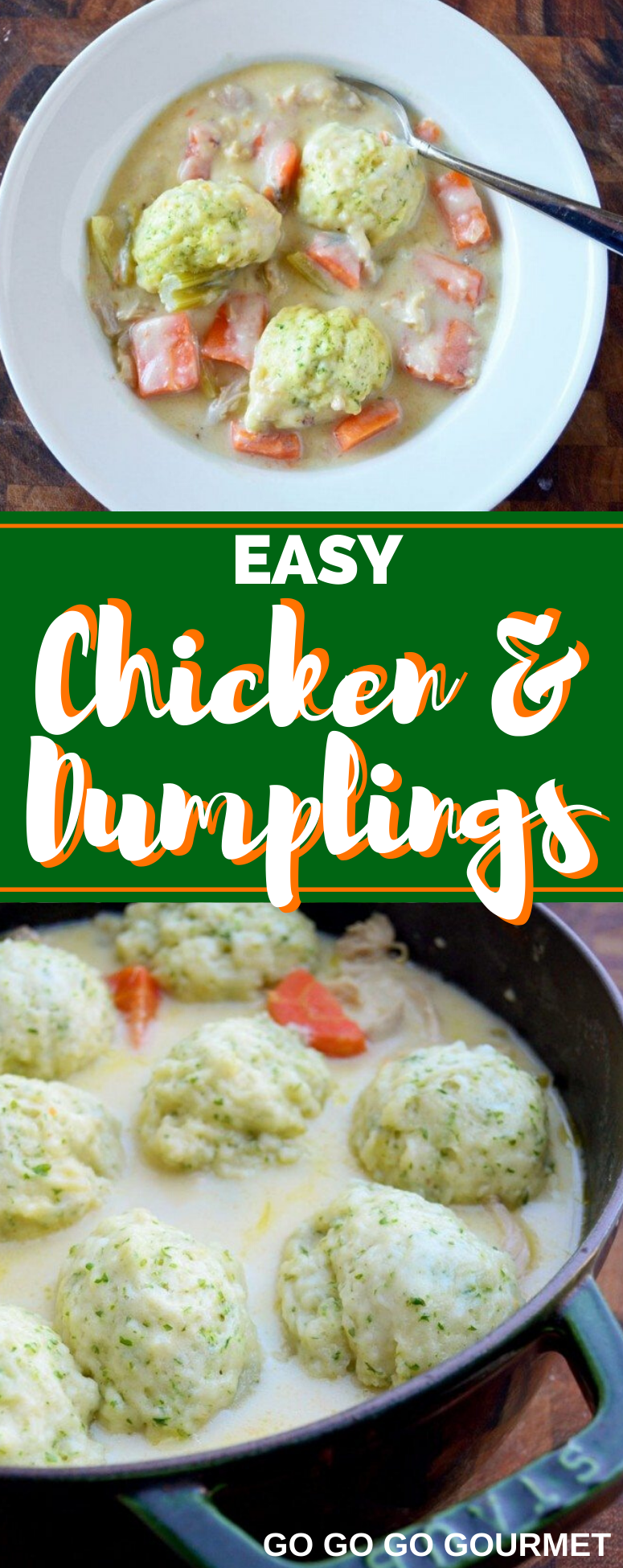 This easy homemade Chicken and Dumplings recipe is the best! To make this even easier, you could use a rotisserie chicken, or even make this dumplings with biscuits! #gogogogourmet #chickenanddumplings #homemadechickenanddumplings #easyweeknightmeals via @gogogogourmet