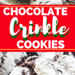 Collage of chocolate crinkle cookies for Pinterest