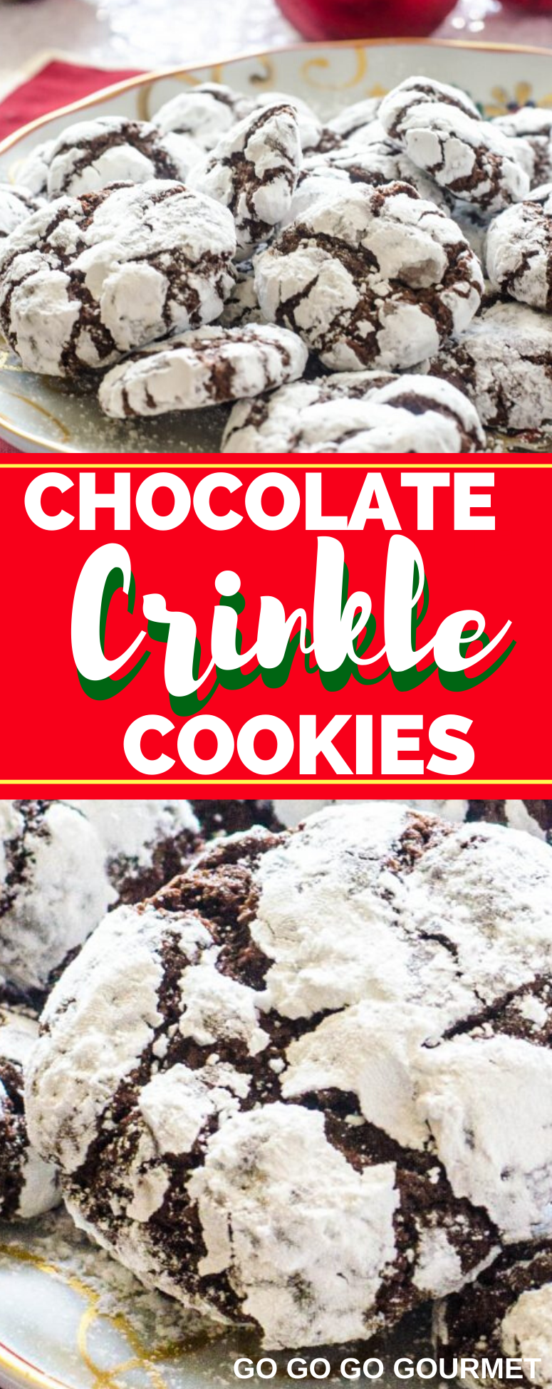 Forget the cake mix, this easy Chocolate Crinkle Cookies recipe is the best! These chewy, fudgy cookies are made with cocoa powder to make the ultimate Christmas cookie. They're almost like a brownie in cookie form! #gogogogourmet #chocolatecrinklecookies #crinklecookies #christmascookies via @gogogogourmet