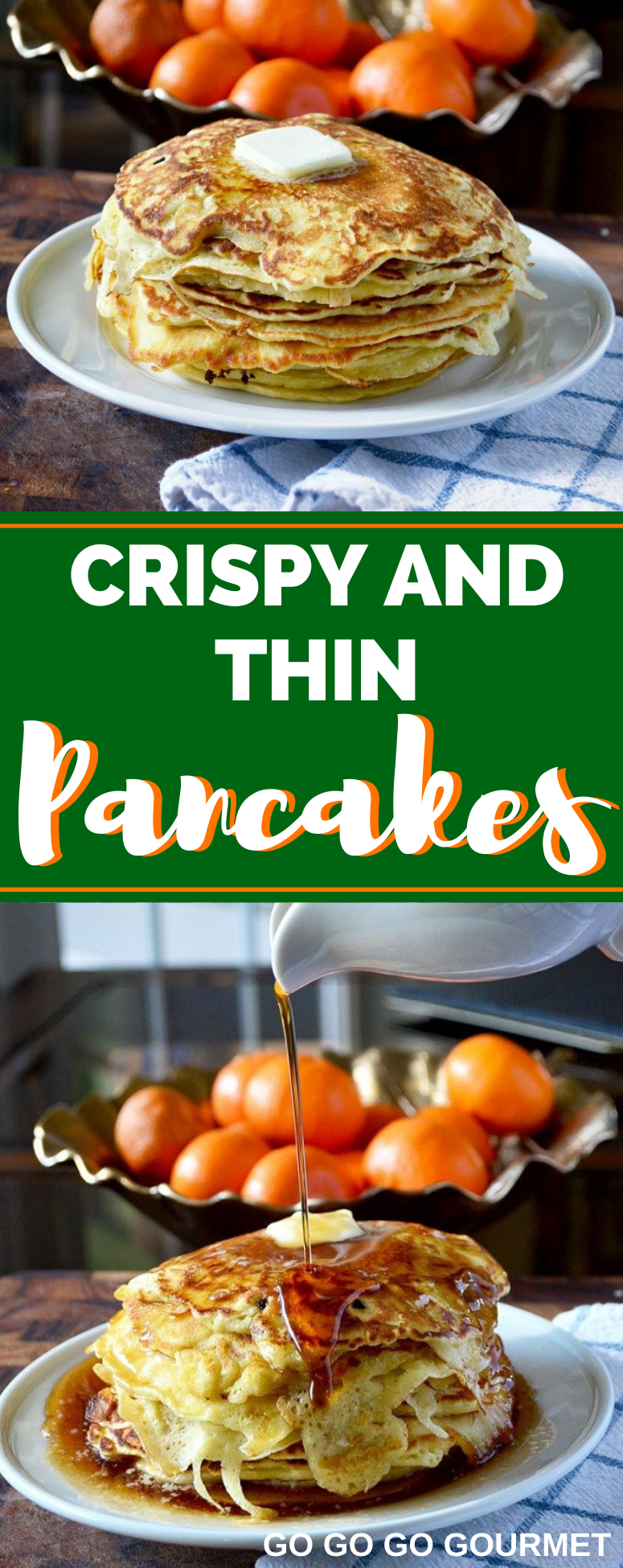 Have you ever wondered how to make thin and crispy pancakes? Look no further! This from scratch Crispy and Thin Pancake recipe is the best! It makes a great recipe for breakfast or brunch! #brunchrecipes #crispyandthinpancakes #easypancakerecipe #gogogogourmet via @gogogogourmet