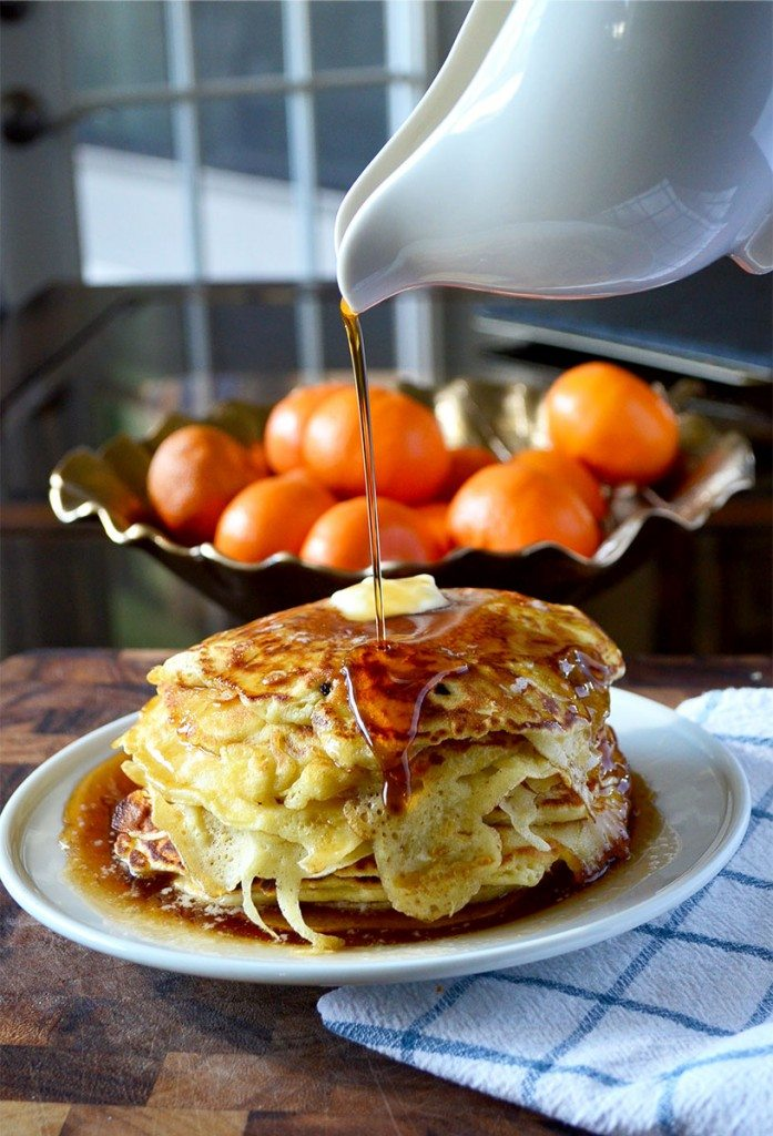 This thin pancake recipe yields soft, thin pancakes with crispy edges. Still fluffy inside, you can easily eat a whole stack of these! | @gogogogourmet