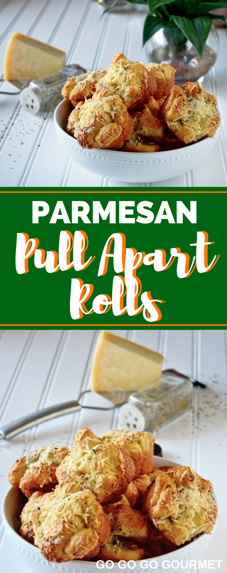 This Garlic Parmesan Pull Apart Rolls recipe is made easy with pre-made crescent roll dough! They taste just as good as homemade rolls, without all of the work! #gogogogourmet #garlicparmesanpullapartrolls #pullapartrolls #homemadebread via @gogogogourmet