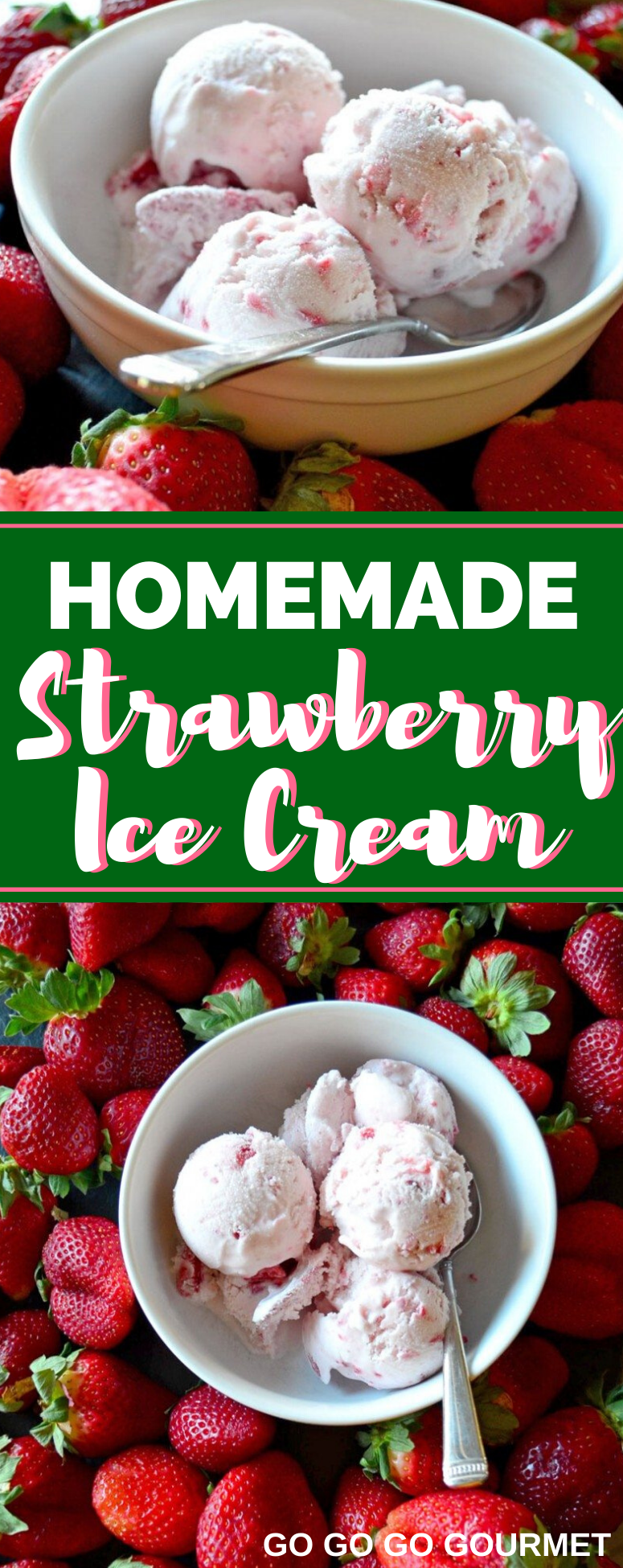 This easy homemade Strawberry Ice Cream recipe is the best! With an ice cream maker and a few ingredients, you are on your way to making the best ice cream ever! Perfect for putting in a bowl or a cone. #gogogogourmet #strawberryicecream #homemadeicecream #homemadestrawberryicecream via @gogogogourmet