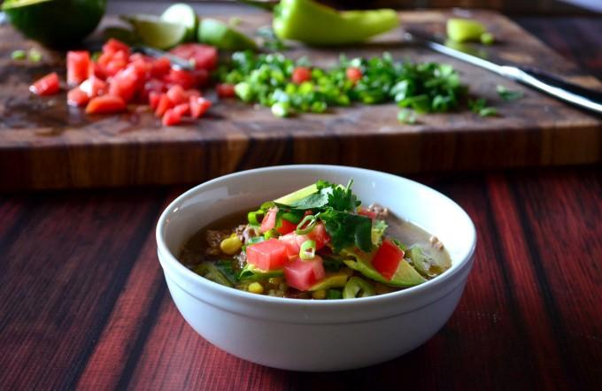 Crockpot Carnitas Burrito Bowl Soup