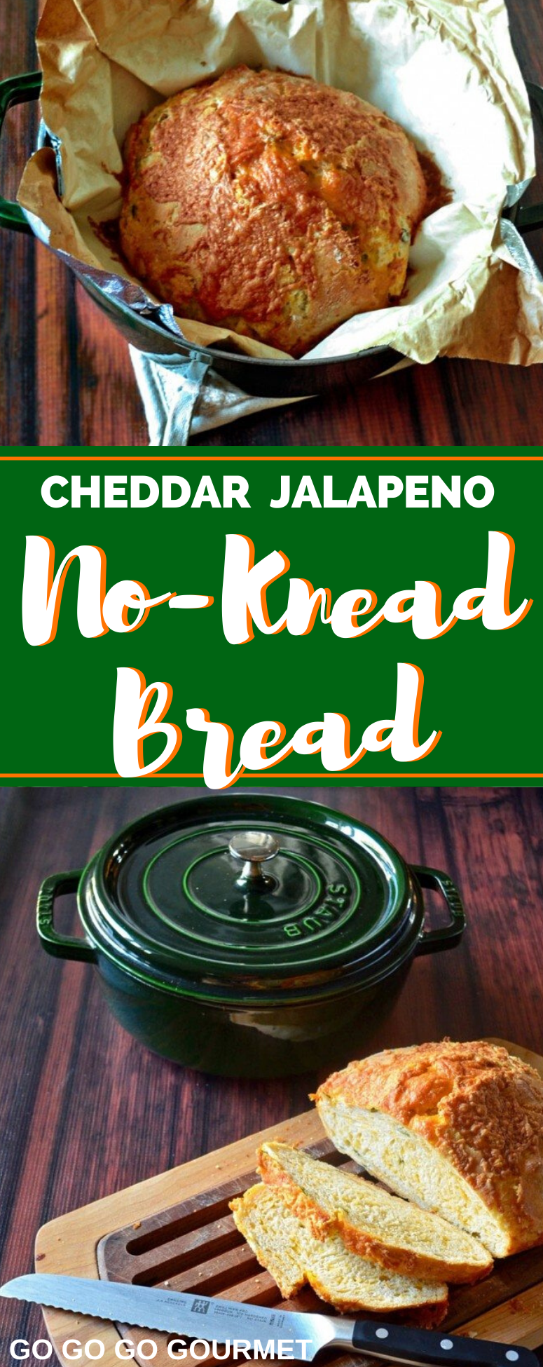 This easy Cheddar Jalapeno No Knead Bread recipe is the best! Perfectly soft with just a hint of spice, you are going to love this delicious bread recipe! #gogogogourmet #cheddarjalapenobread #homemadebread #easybread via @gogogogourmet