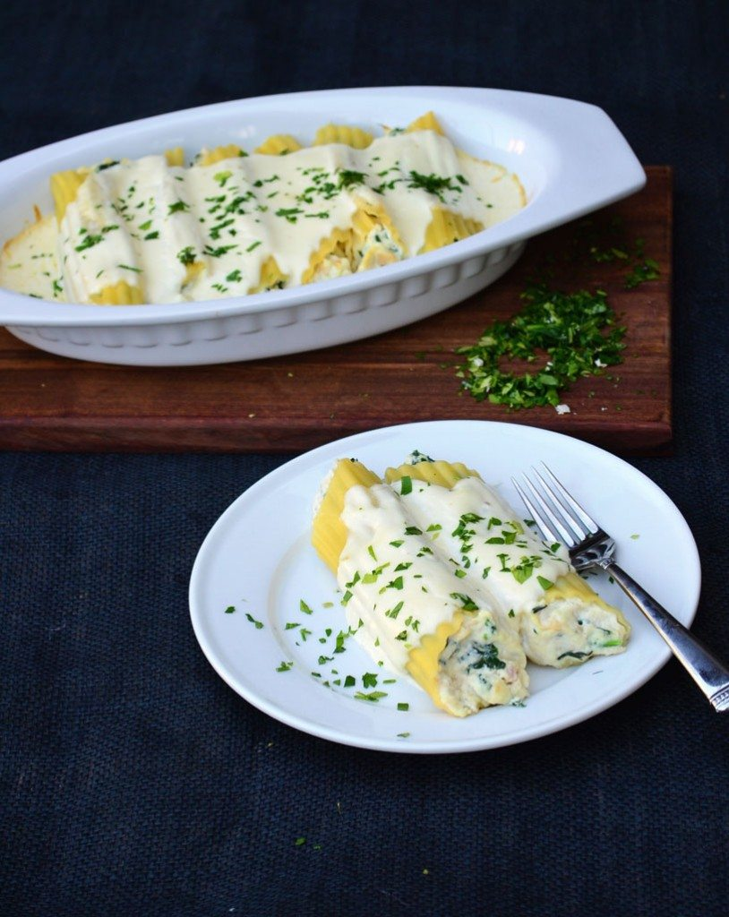 Chicken and Spinach Manicotti with Alfredo Sauce | Go Go Go Gourmet