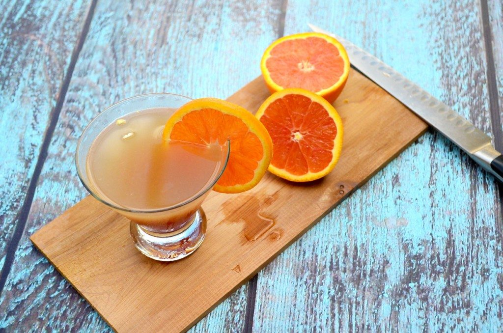 Clearwater Sunset Martini - Pineapple, orange, citrus vodka, Cointreau and Chambord. Amazing! | Go Go Go Gourmet