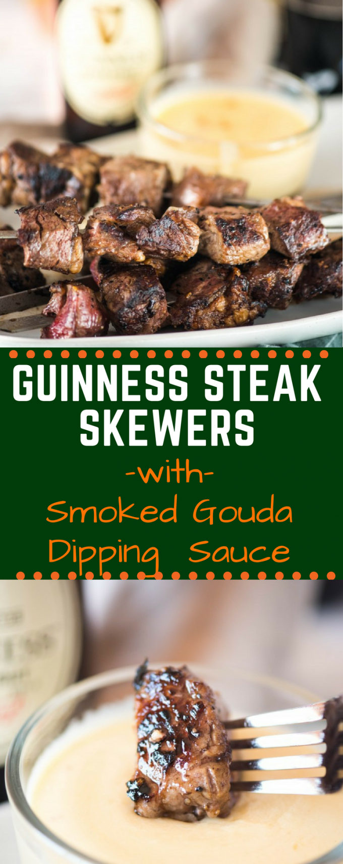 These Guinness Steak Skewers with Smoked Gouda Dipping Sauce are a fun and easy dinner that everyone is sure to love. Perfect for a traditional St. Patrick's day party - or any day! #stpatricksday #stpatricksdayfood #guinnesssteakskewers #guinnessrecipes #gogogogourmet via @gogogogourmet