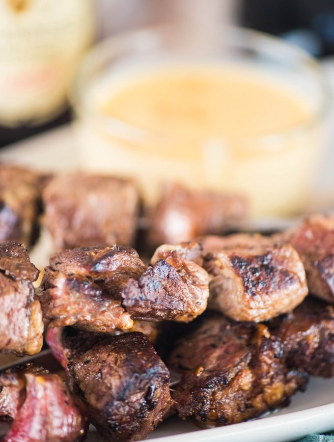 Guinness Steak Skewers with Smoked Gouda Dipping Sauce