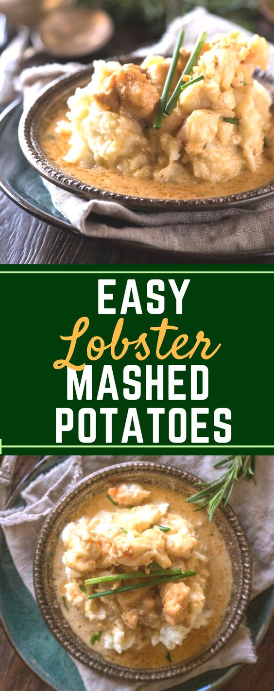 This easy Lobster Mashed Potatoes recipe is even better than Mastros and Red Lobster! Made with buttery lobster tail, it would make a fun addition to your filet mignon Valentine's Day dinner! #lobster #lobstertails #seafood #ValentinesDay #gogogogourmet