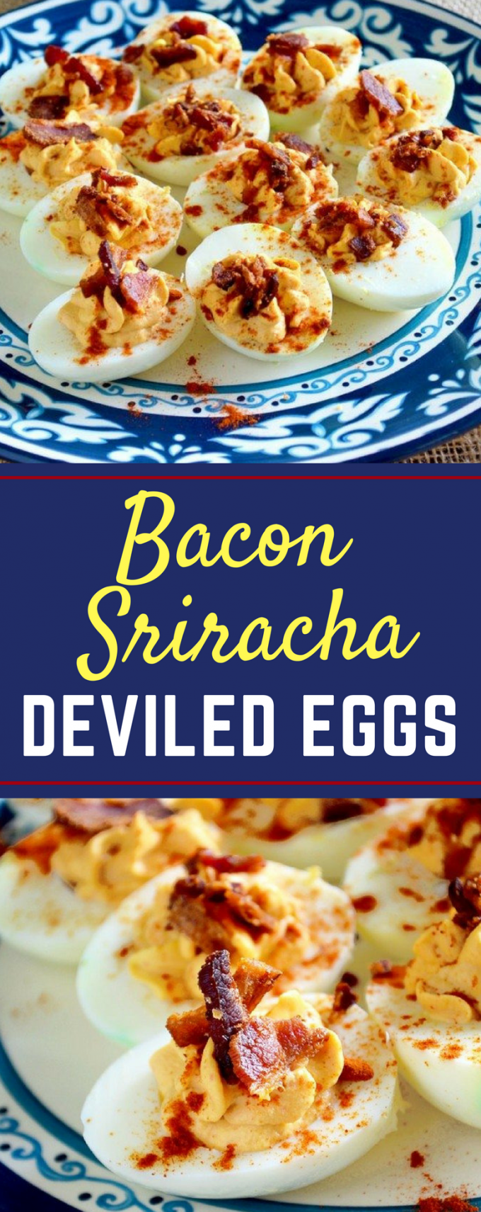 This is the BEST easy Bacon Sriracha Deviled Eggs recipe! The sriracha adds a spicy kick to a classic recipe that even rivals the Pioneer Woman! To add more heat, you could even top with jalapenos! #baconsrirachadeviledeggs #classicdeviledeggs #easterrecipes #easydeviledeggs #gogogogourmet via @gogogogourmet