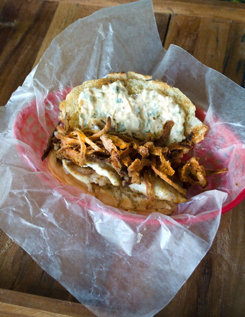 Blackened Fish Sandwich with Crispy Onion Straws | Go Go Go Gourmet @gogogogourmet