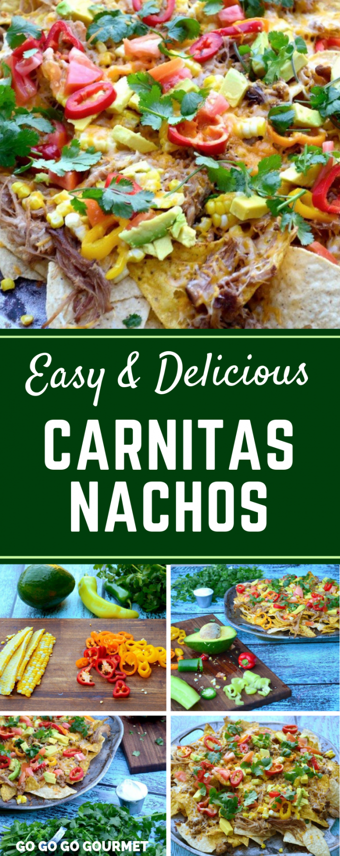 If you're looking for easy dinners, this delicious Carnitas Nachos recipe is just what you need! Topped with pork that you can make in the crock pot, this is a party food that you don't want to miss! #gogogogourmet #carnitasnachos #easynachosrecipes #mexicanfood  via @gogogogourmet